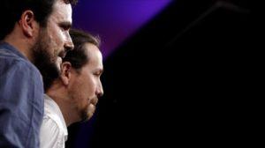 MADRID 26 06 2016 POLITICA 26J Seguimiento electoral en Podemos Intervencion de Pablo Iglesias Alberto Garzon y el resto de candidatos FOTO JOSE LUIS ROCA