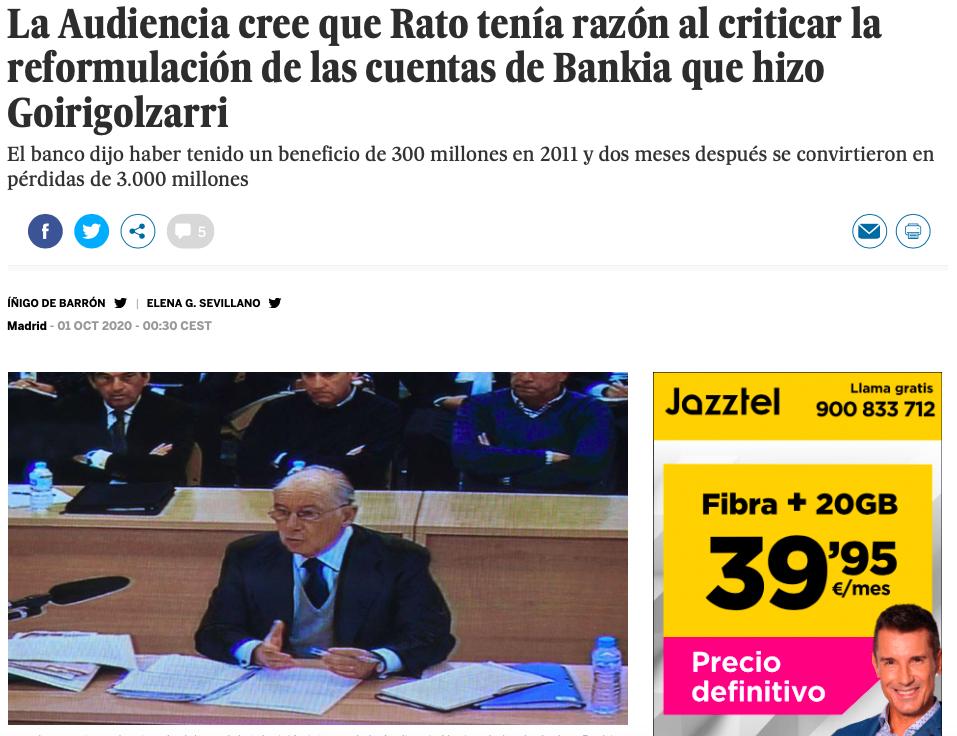 Titular de EL PAIS del 01.01.2020 sobre la reformulación de las cuentas de Goirigolzarri en Bankia en 2012