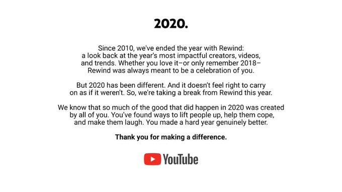 Aviso de Youtube de NO Rewind en 2020