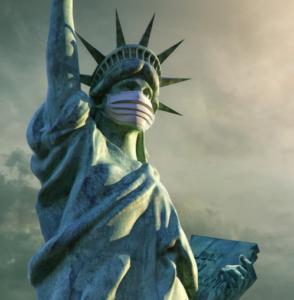 Estatua de la Libertad con mascarilla